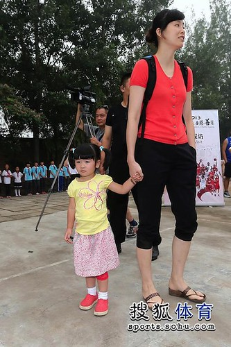 June 30th, 2013 - Yao Ming's wife Ye Li and baby daughter Amy visits a primary school with Yao Ming and Joakim Noah