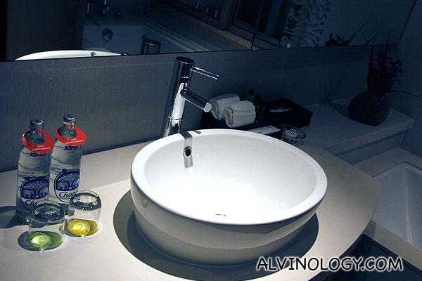 Wash basin and Chang brand drinking water