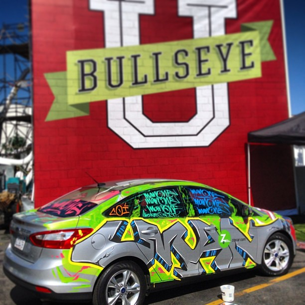 Hitting the #BullseyeU @zipcaru @target @ford #focus #streetart #graffiti #art #livepainting