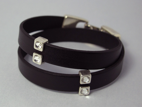 Double wrap leather bracelet (crystal)