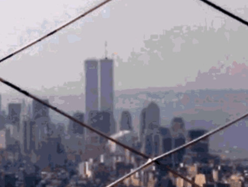 World Trade Center from Empire State  (Digital Woodcut) by randubnick