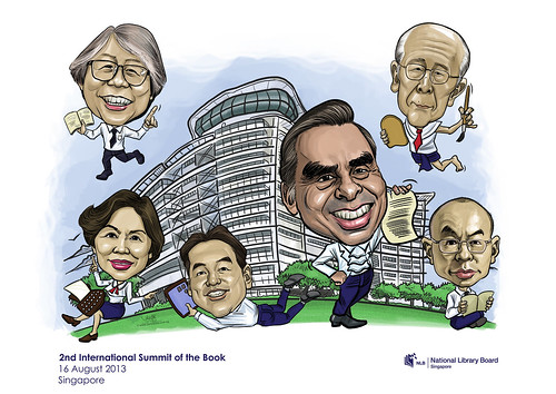 digital group caricatures for National Library (NLB) - 1
