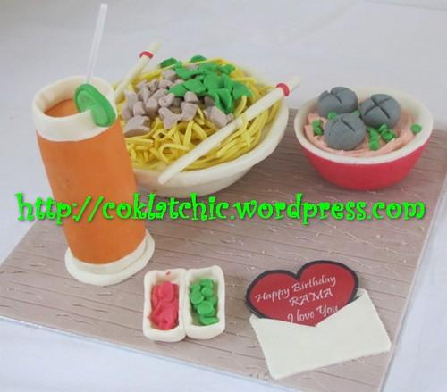 Cake Mie Ayam dan Es Jeruk