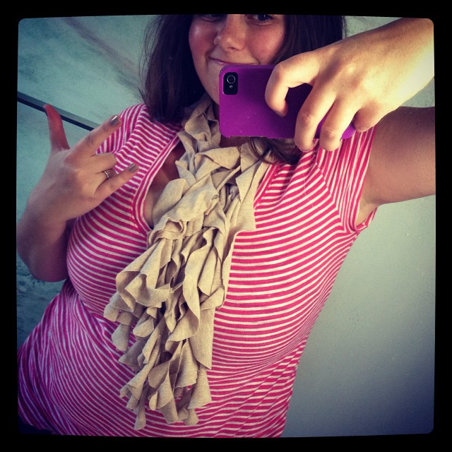 Another day another crazy simple scarf. I'm finding cutting up my old maternity shirts to be very therapeutic. #scarf #upcycle #tshirt #tshirtscarf #sew #sewing