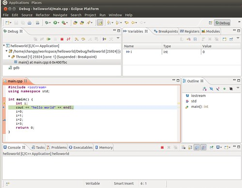 Ubuntu 12.04 Eclipse C++ Project Debug 6