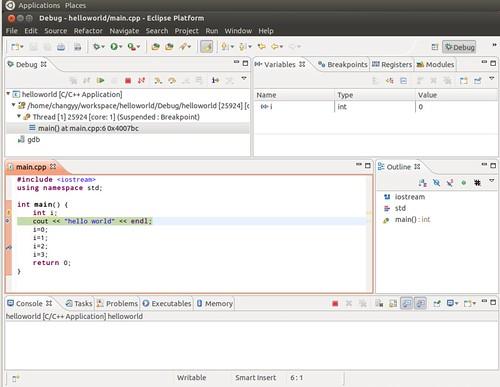 Ubuntu 12.04 Eclipse C++ Project Debug 6