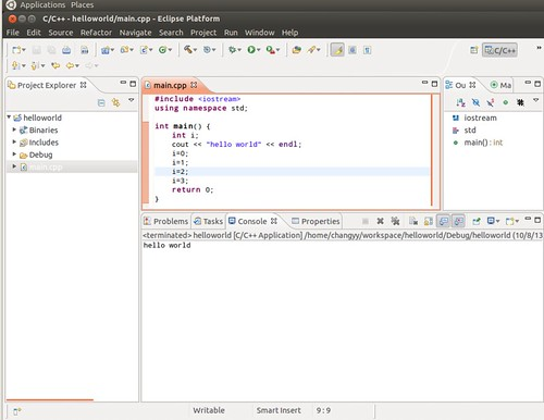 Ubuntu 12.04 Eclipse C++ Project Debug 1