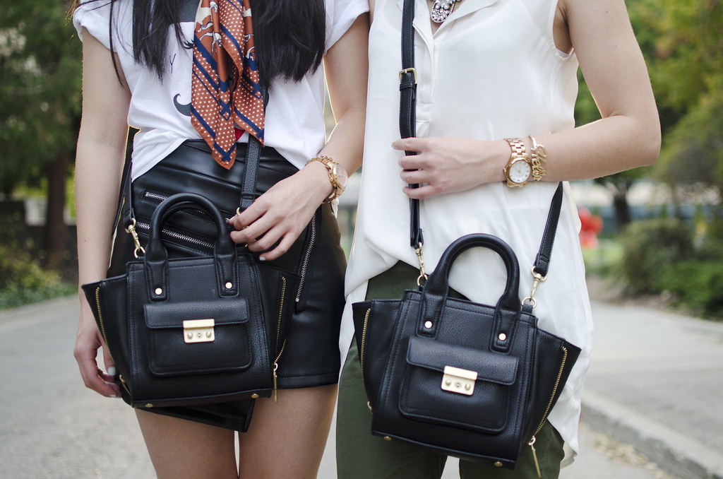 phillip lim for target mini satchel, blogging duo, matching outfits,