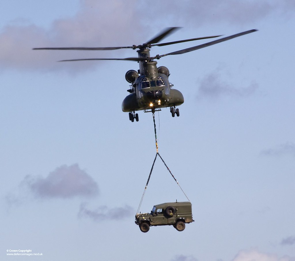 RAF Chinook Carrying Army Land Rover