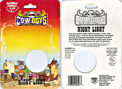 HAPPINESS EXPRESS INC :: Wild West C.O.W.-Boys of MOO MESA ; NIGHT LIGHT ..card backer (( 1993 ))