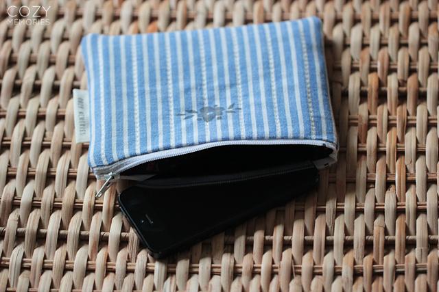 stripey/floral pouch
