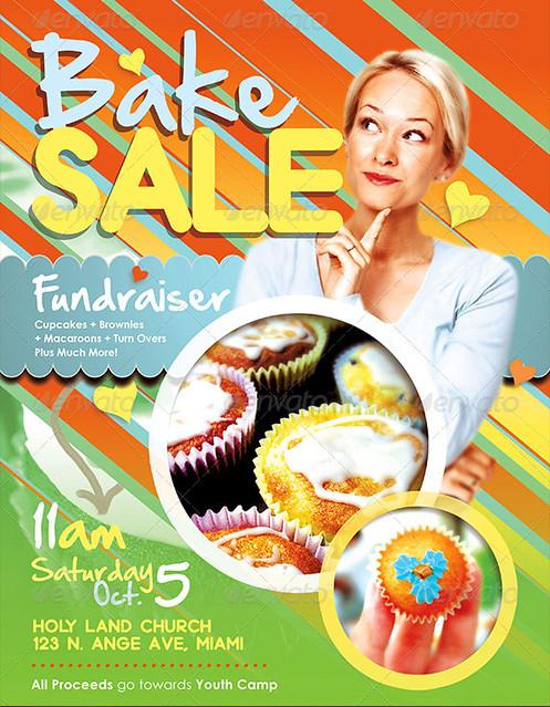 bake sale fundraiser church flyer template preview