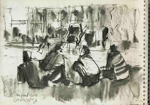 The teamsters were resting near their horses in Naqshe Jahan square by Behzad Bagheri Sketches
