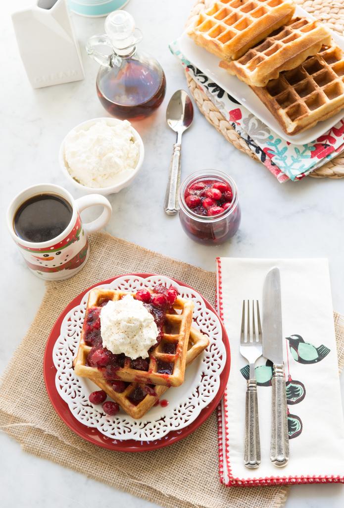 11490800495 3b7d497eb6 b Gluten Free Eggnog Waffles with Warm Bourbon Cranberry Compote
