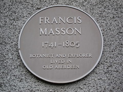 Photo of Francis Masson yellow plaque