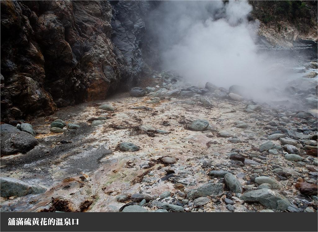 舖滿硫黃花的溫泉口
