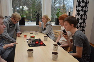SYBB 2014-01-04 - Fikapaus - Tobias, Johannes, Hanna, Christoffer och Oskar