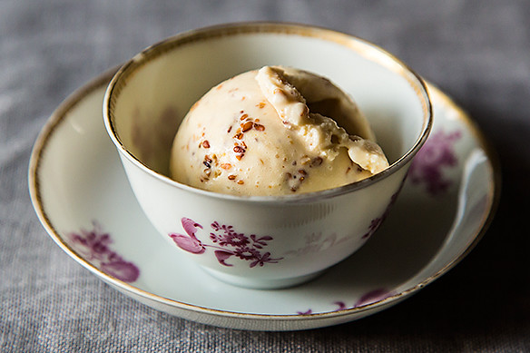 Ginger Ice Cream with Honey Sesame Brittle