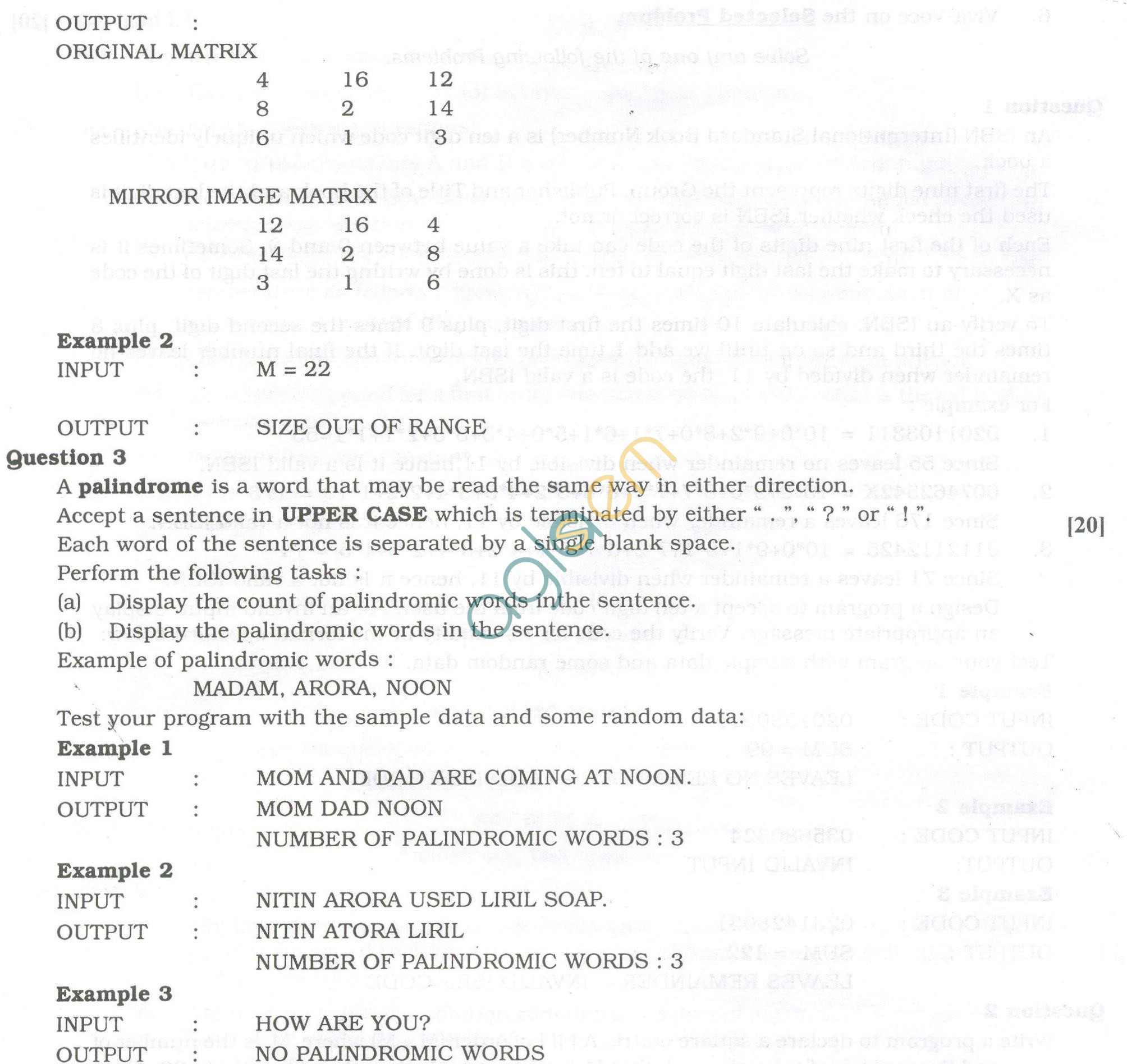 ISC Question Papers 2013 for Class 12 - Computer Science Practical