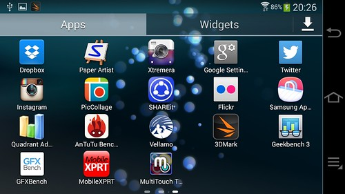 App Tray ของ Samsung Galaxy Camera 2