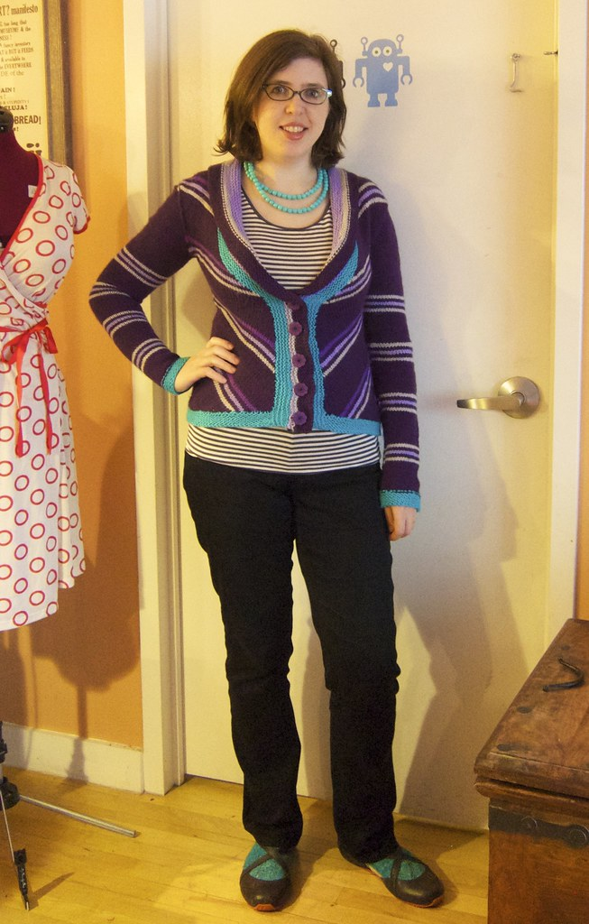 Me Made May 8: Finished Delancey cardigan (plus lace socks)