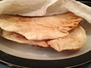 Lamb Kofta : Flatbread : Keep warm in a teatowel