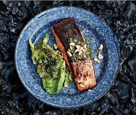 Butter-Basted Salmon with Hazelnut Relish Recipe