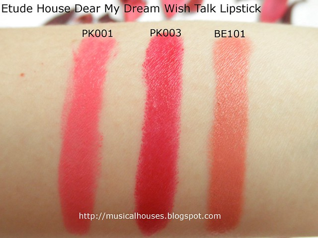 etude house dear my wish lips talk lipstick review and swatches of faces and fingers. Black Bedroom Furniture Sets. Home Design Ideas