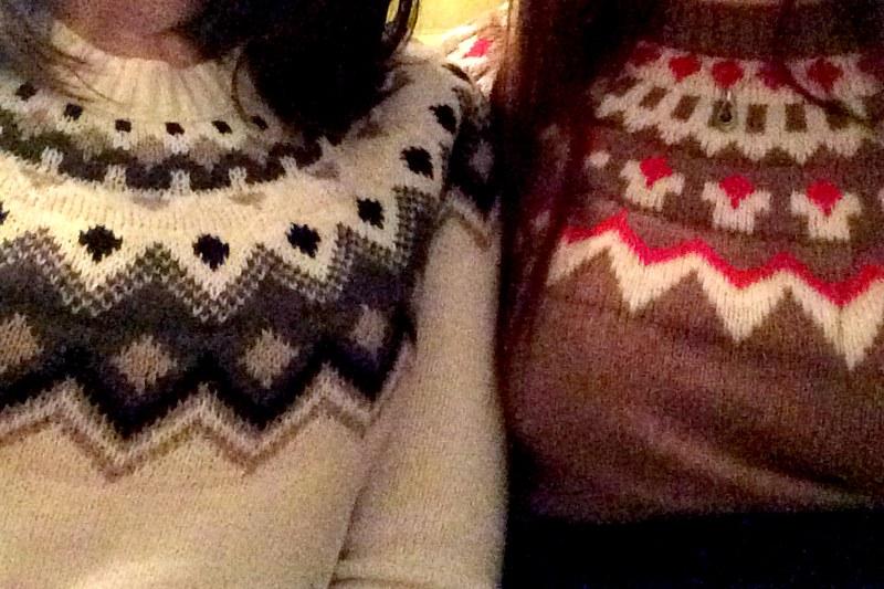 matching fair isle sweaters