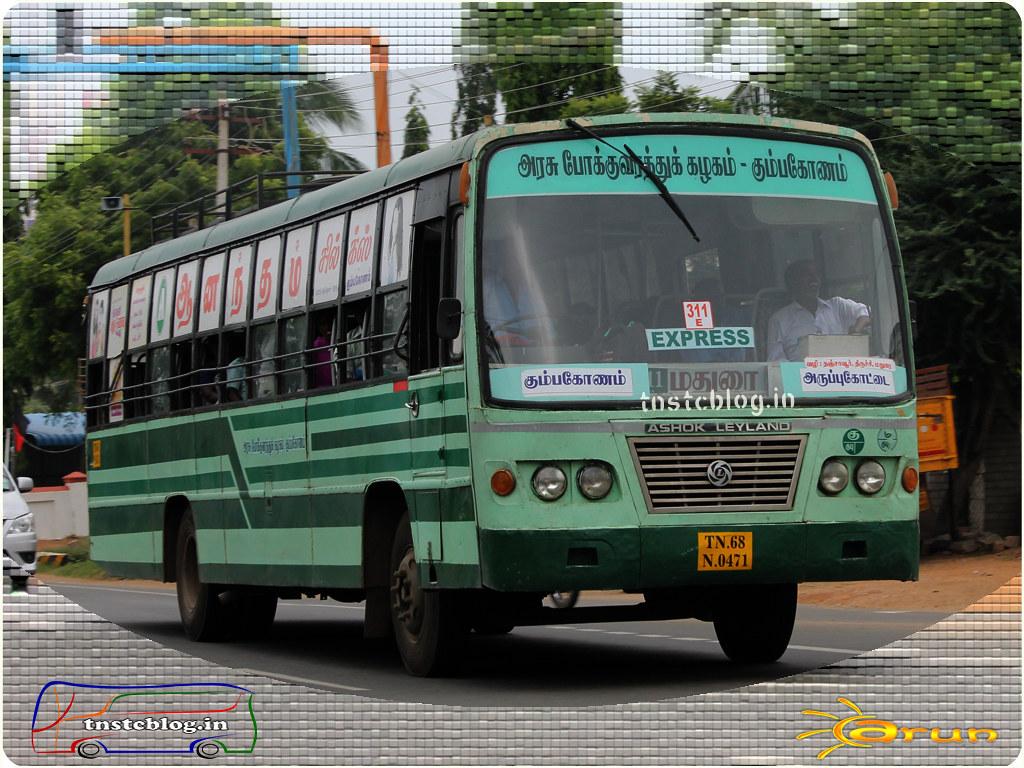 TN-68N-0471 of Kumbakonam Mofussil Depot Route 311E Kumbakonam - Aruppukottai via Tanjore, Trichy, Madurai.