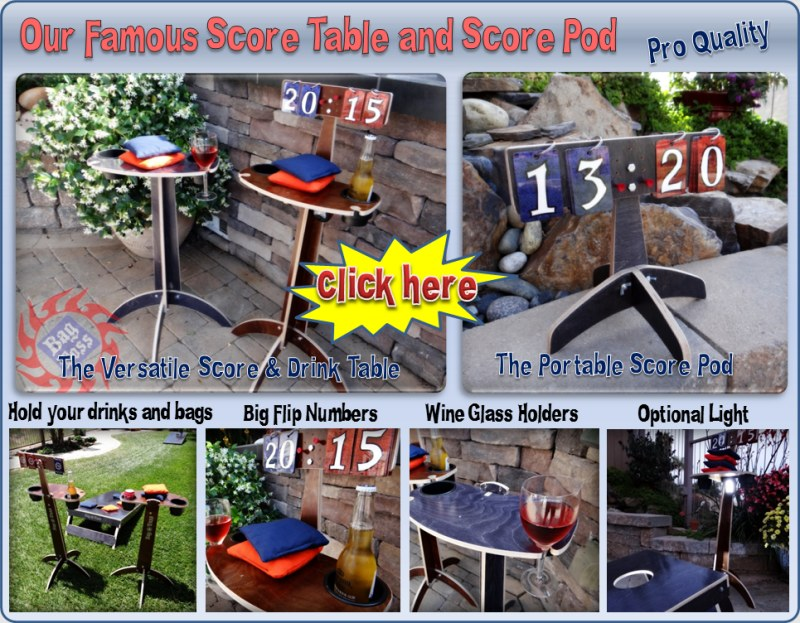 Famous Score Drink Table tower Cornhole horseshoes washers  tossing games flip style score cards large easy read numbers two large drink holders wine glass holders