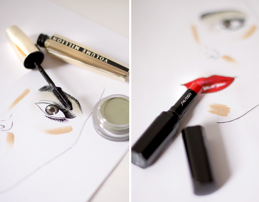 simple make up 4 products only lipstick creamy eye shadow shiseido volume million mascara l'oreal touche éclat ysl yves saint laurent drawing schminke style beauty beautyblogger berlin germany deutschland blogger ricarda schernus cats and dogs blog 1