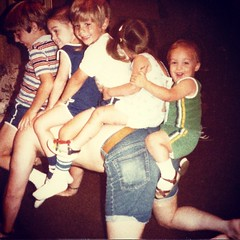 "#TBT to the time when my dad could fit 4.5 cousins on his back for a ""horsey ride."" I don't think this horsey went very far. #neckbreaker #nicecutoffs"