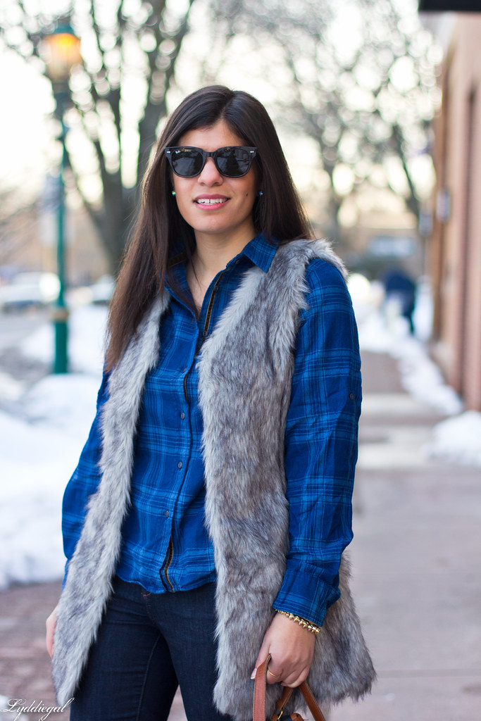 blue plaid shirt, fur vest, coach bag-8.jpg