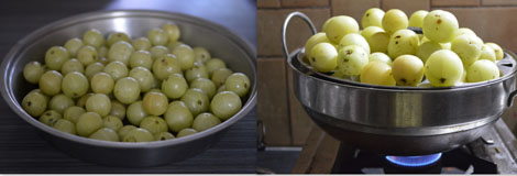 steaming gooseberries