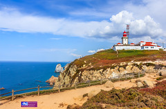 Lighthouse and Atlantic ocean at cabo da Roca, Portugal - the westernmost extent of continental Europe.