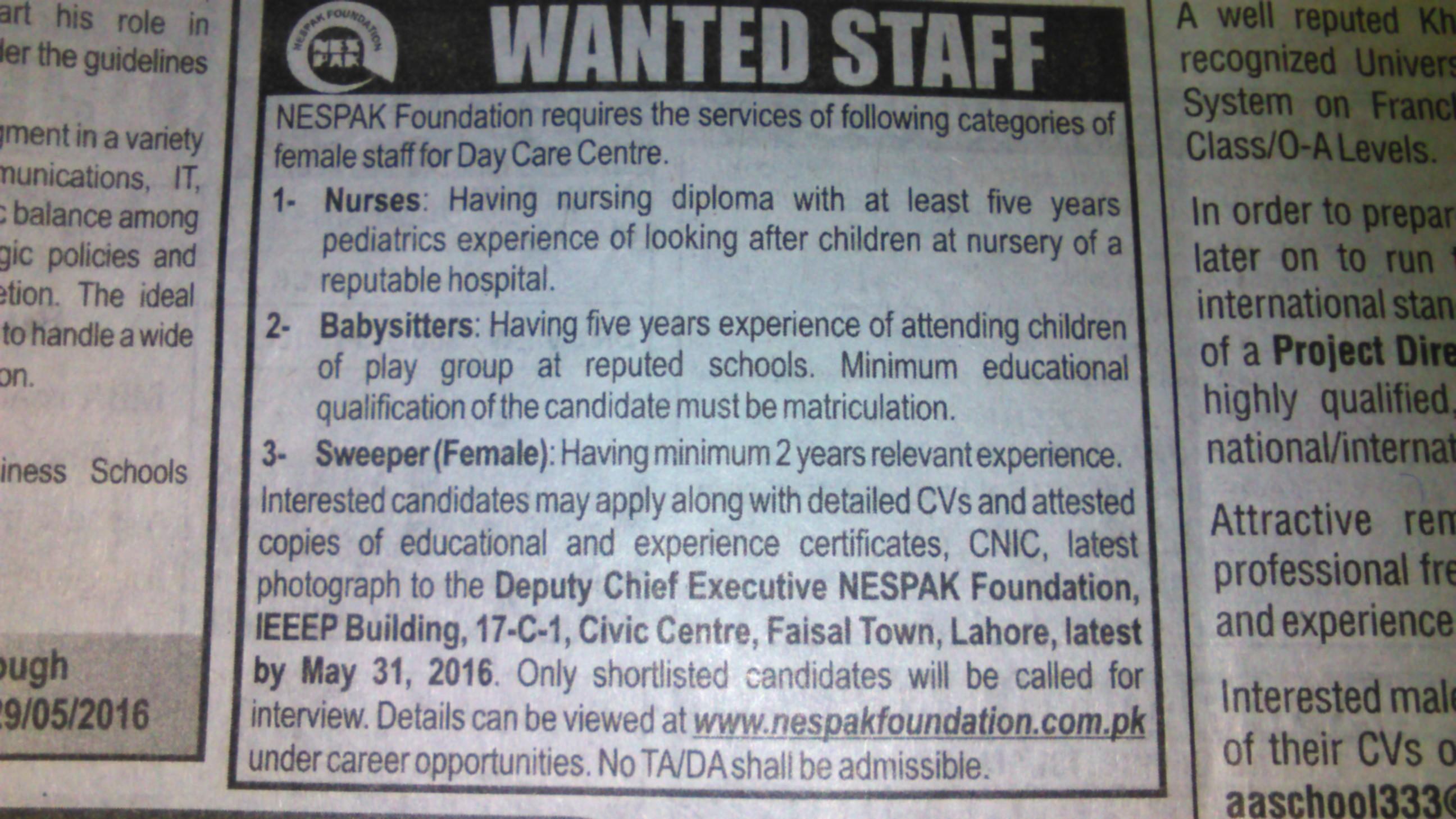 NESPAK Foundation Requires Staff