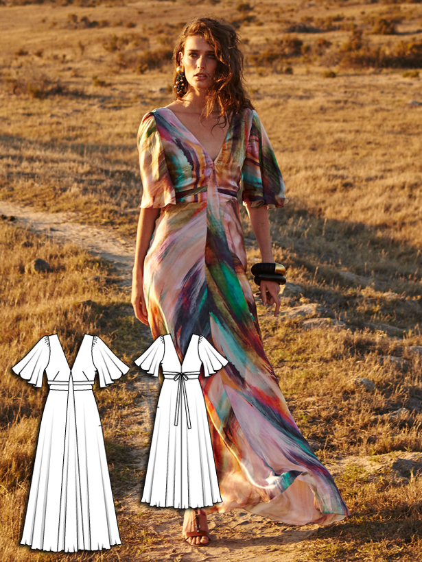womens maxi dress sewing pattern 103-062016-B