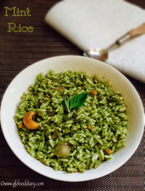 Mint Rice Recipe for Toddlers and Kids
