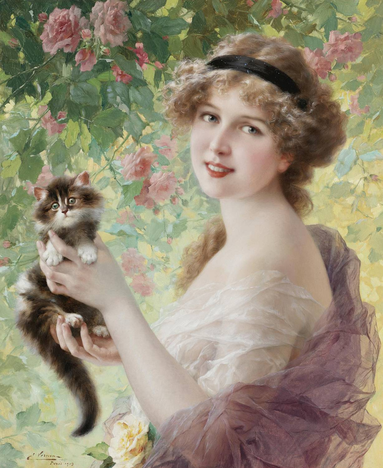 Her most precious by Emile Vernon - 1919
