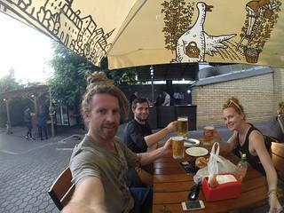 Beers after the hike up Kumbel Peak