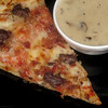 Hamburger & bacon pizza and cream of mushroom soup