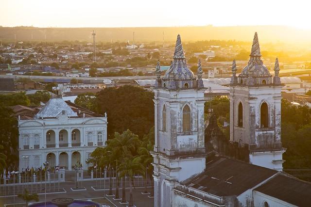 Vista Aérea da Igreja dos Martírios e do Palácio Floriano Peixoto - Maceió, Alagoas