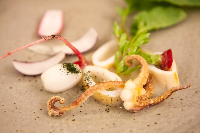 Squid, radishes, onions, and oyster sauce, Aska