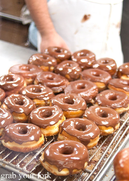 chocolate glazed raised donuts at the donut man inglewood la los angeles