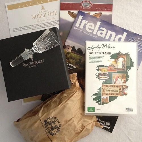 Loving the #tasteofireland goodies... Off to eat soda bread, watch a video and stroke my #waterford ;D