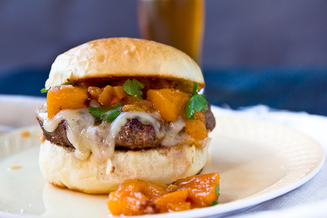 Burgers with Spicy Bourbon-Peach Chutney