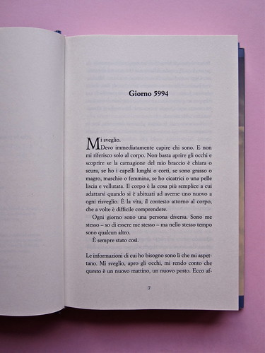 David Levithan, ogni giorno. Rizzoli 2013. Progetto grafico di copertina © Adam Abernethy. Incipit (part.), 1