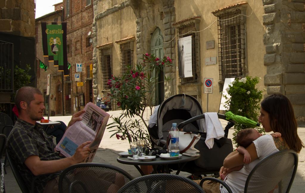 Italy, Family at Café in Città della Pieve