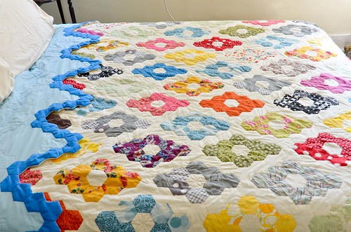 Completed Hexagon Quilt - top